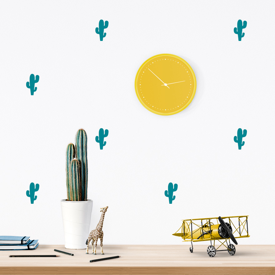 JUSTa Sticker Cactus turquoise - pattern wall decal
