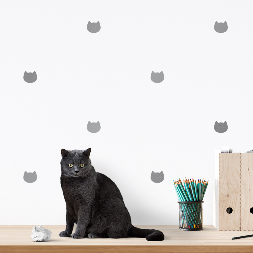 JUSTA Sticker Cat silver - pattern wall decal