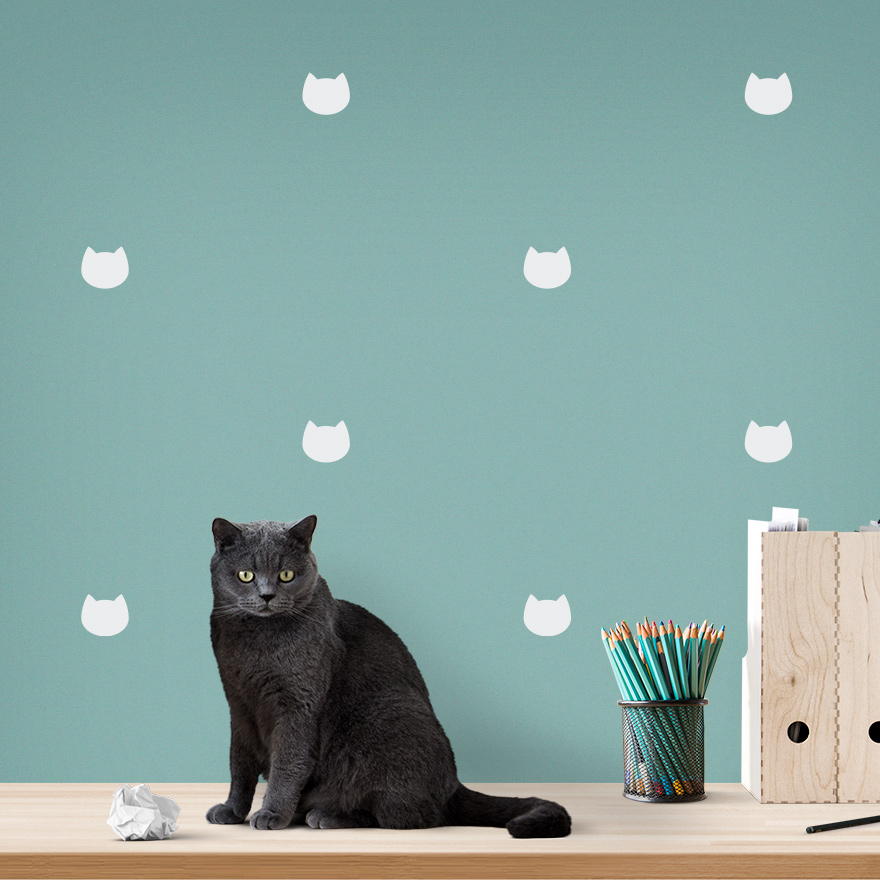 JUSTA Sticker Cat white - pattern wall decal