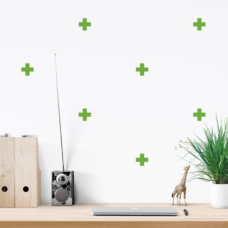 JUSTA Sticker Cross lime green - pattern wall decal