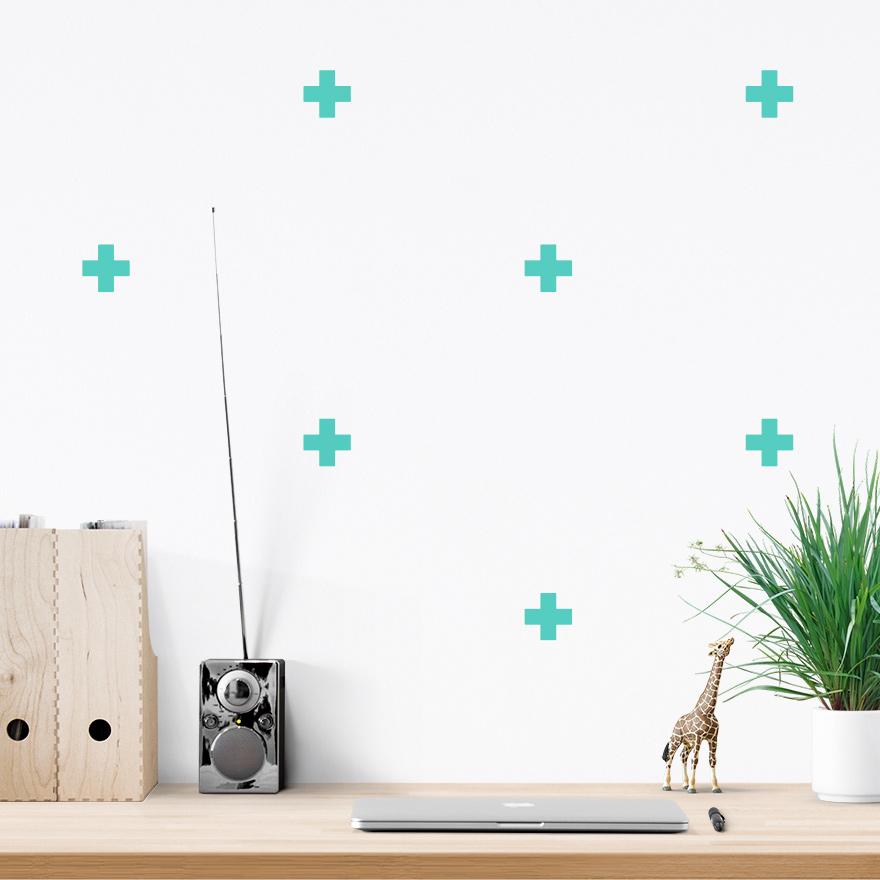 JUSTA Sticker Cross mint - pattern wall decal