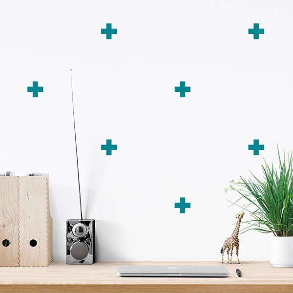 JUSTA Sticker Cross turquoise - pattern wall decal