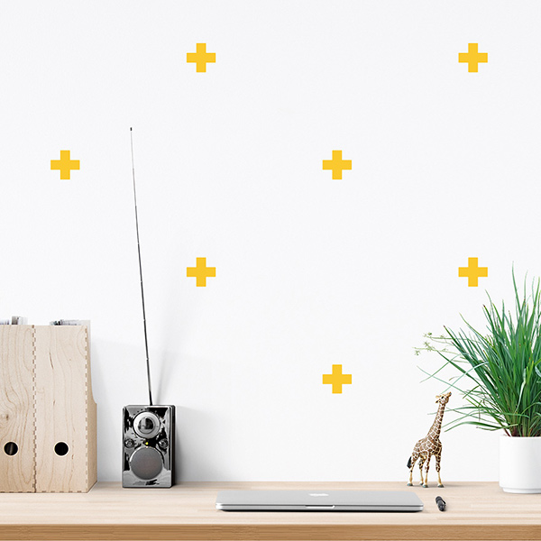 JUSTA Sticker Cross yellow - pattern wall decal
