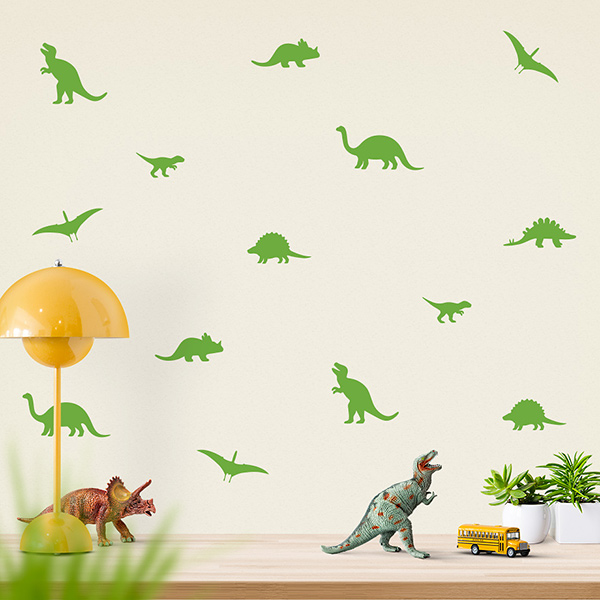 JUSTA Sticker Dino lime green - wall decal set