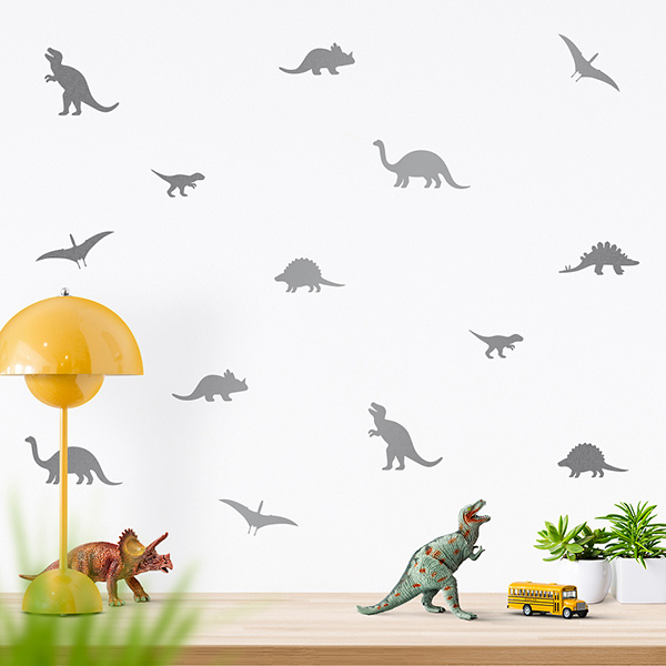 JUSTA Sticker Dino silver - wall decal set