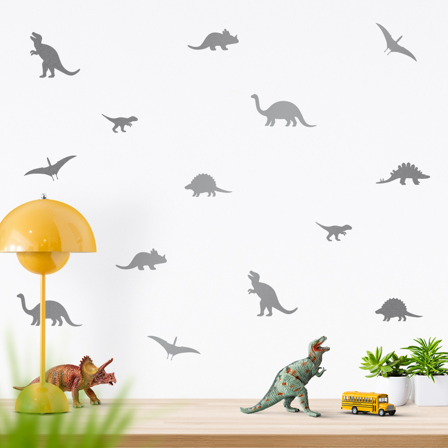 JUSTA Sticker Dino silver - wall decal set