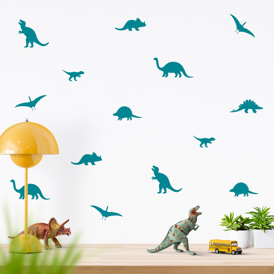 JUSTA Sticker Dino turquoise - wall decal set