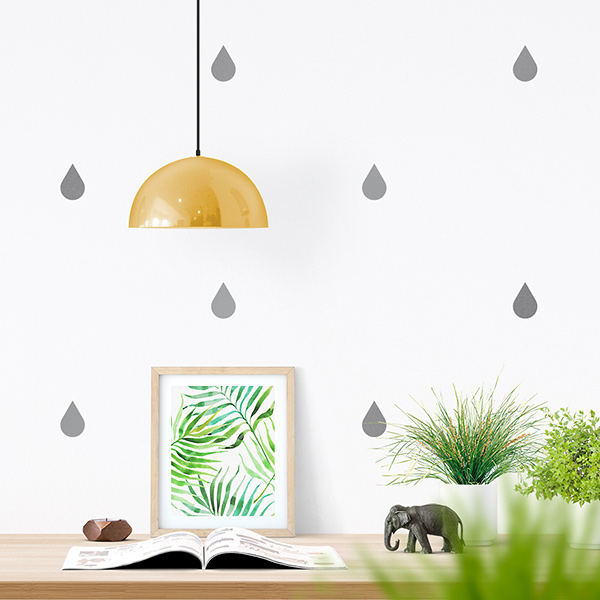 JUSTA Sticker Drop silver - pattern wall decal