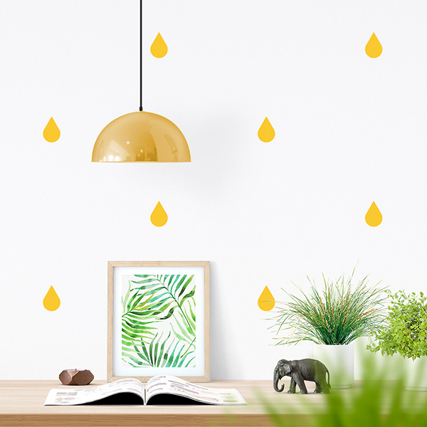 JUSTA Sticker Drop yellow - pattern wall decal