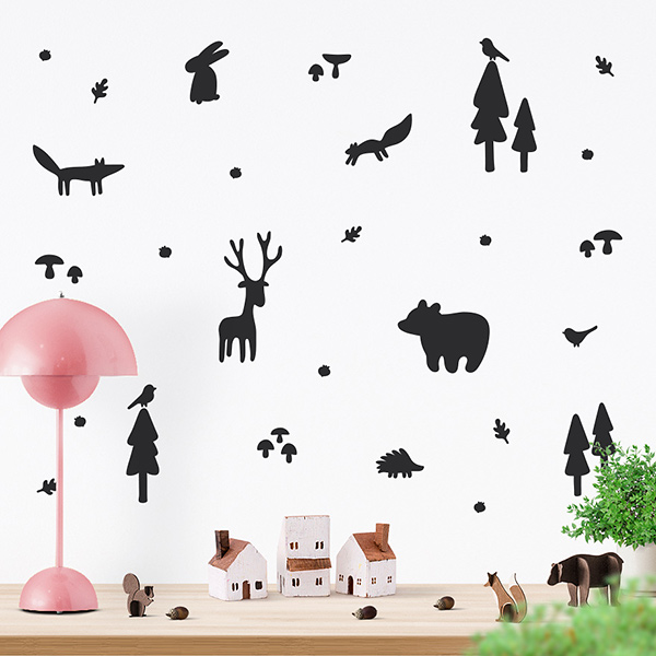 JUSTA Sticker Forest black - wall decal set