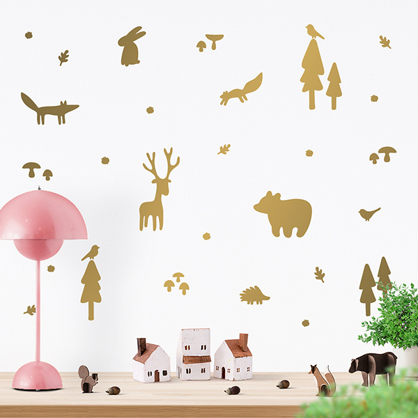 JUSTA Sticker Forest gold - wall decal set