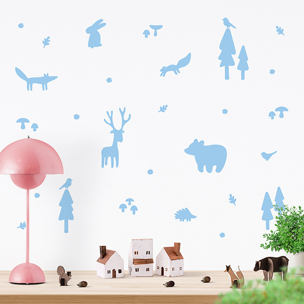 JUSTA Sticker Forest pastel blue - wall decal set