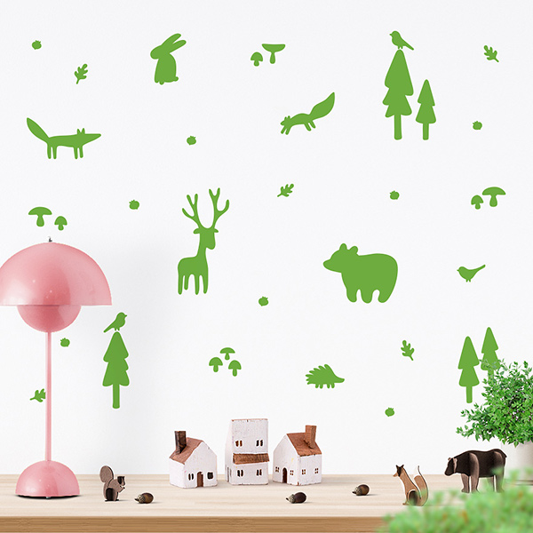 JUSTA Sticker Forest lime green - wall decal set