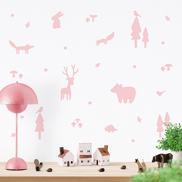 JUSTA Sticker Forest light pink - wall decal set