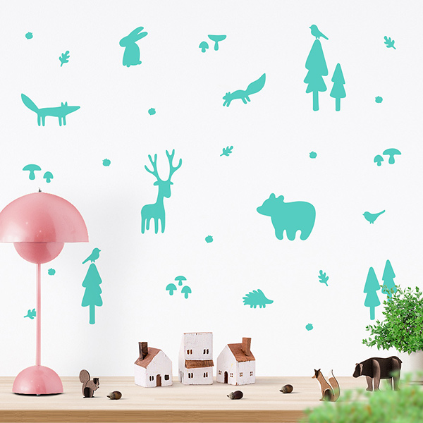 JUSTA Sticker Forest mint - wall decal set