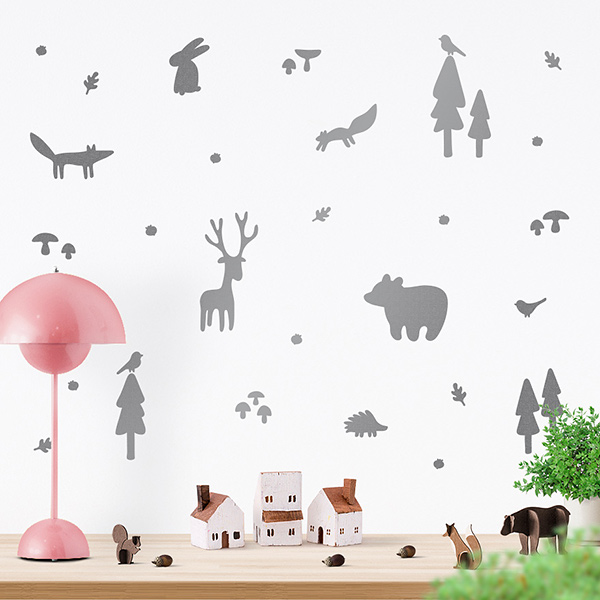 JUSTA Sticker Forest silver - wall decal set