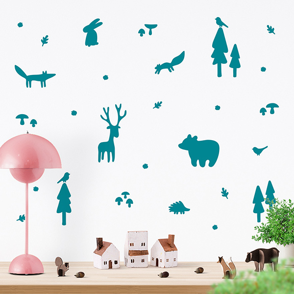 JUSTA Sticker Forest turquoise - wall decal set
