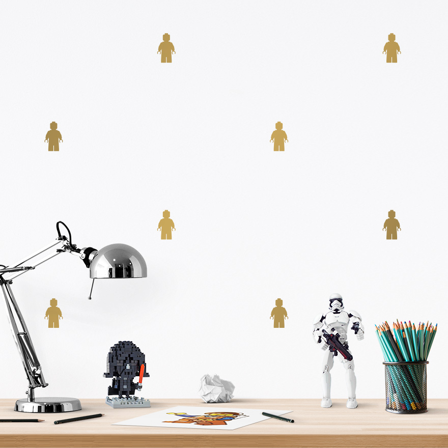 JUSTA Sticker Lego gold - pattern wall decal