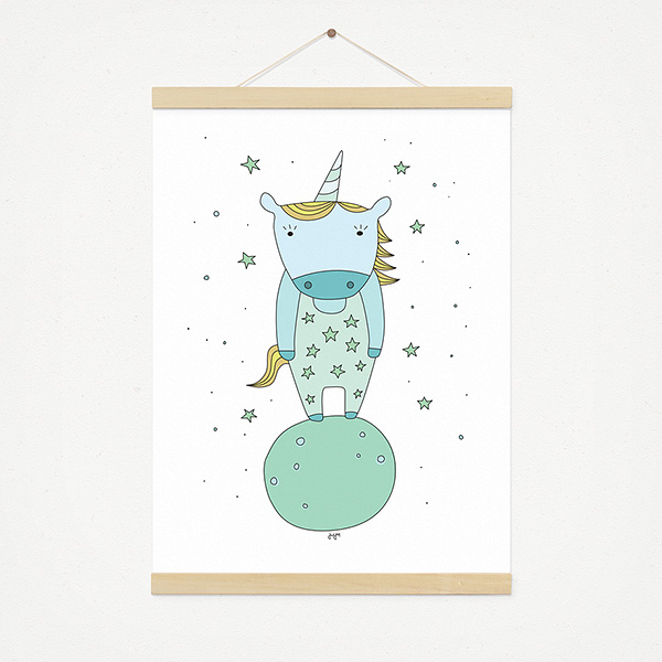 JUSTa Print STARRY UNICORN - A4 graphic design magnetic pine wood hanger