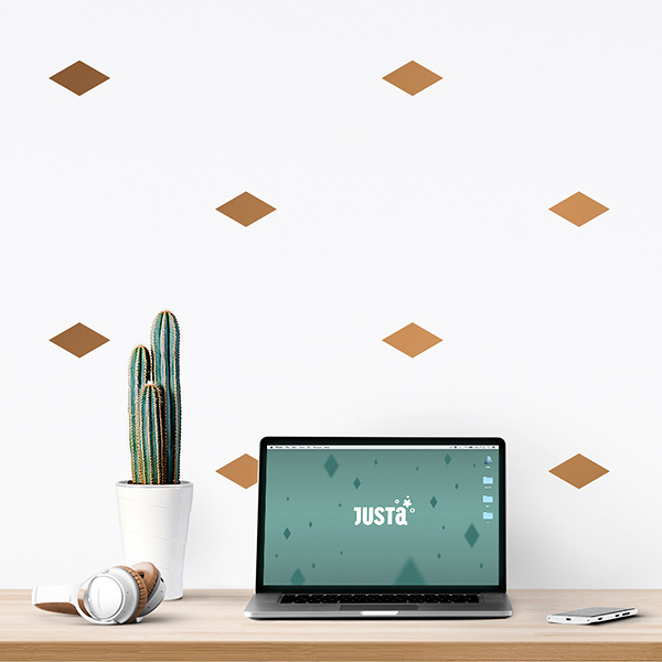 JUSTA Sticker Rhombus copper - pattern wall decal