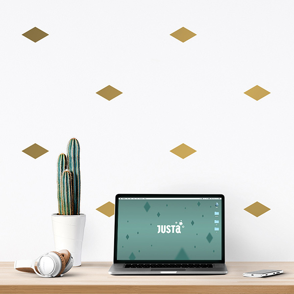 JUSTA Sticker Rhombus gold - pattern wall decal