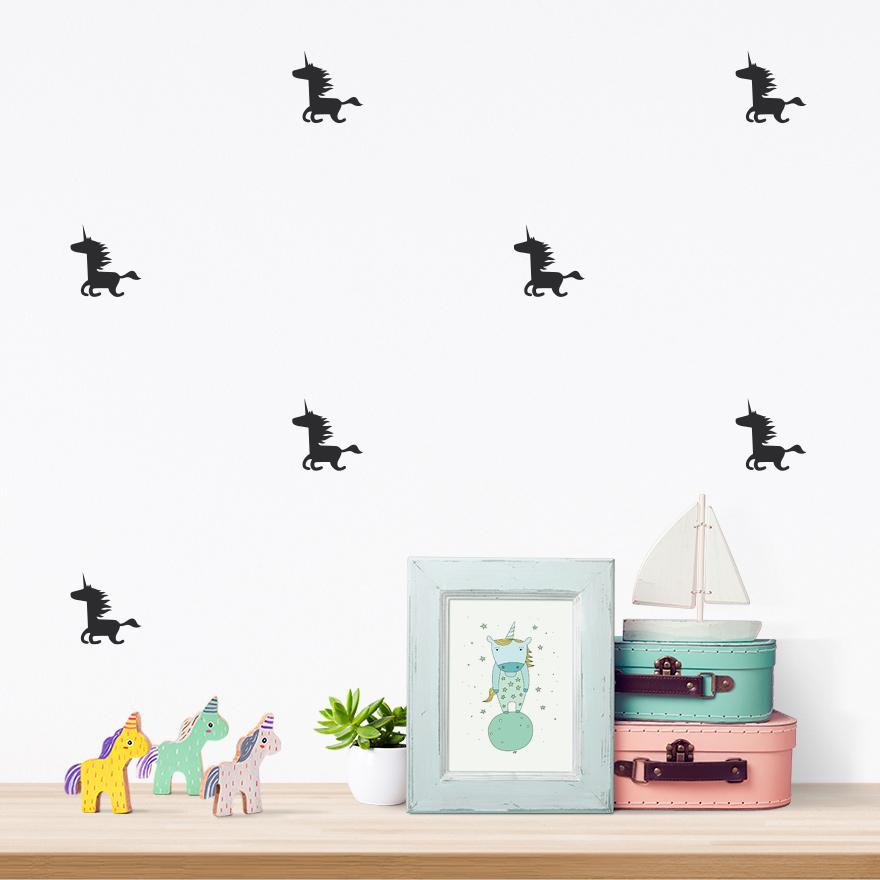 JUSTA Sticker Unicorn black - pattern wall decal