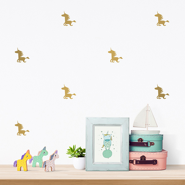 JUSTA Sticker Unicorn gold - pattern wall decal