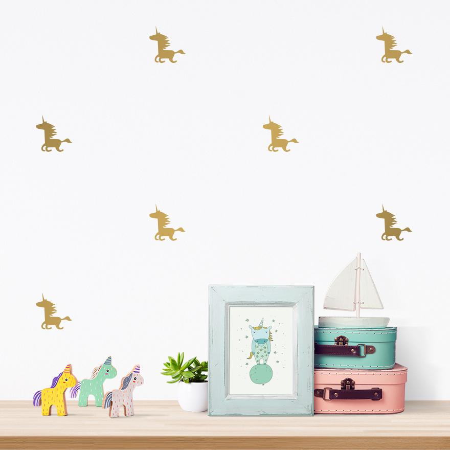 JUSTA Sticker Unicorn gold - pattern wall decal