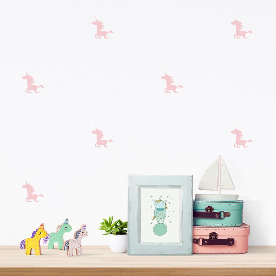 JUSTA Sticker Unicorn light pink - pattern wall decal