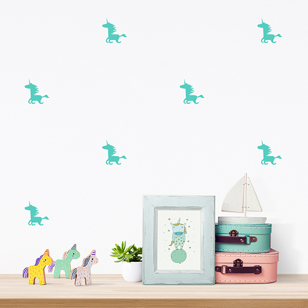 JUSTA Sticker Unicorn mint - pattern wall decal