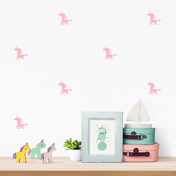 JUSTA Sticker Unicorn pink - pattern wall decal