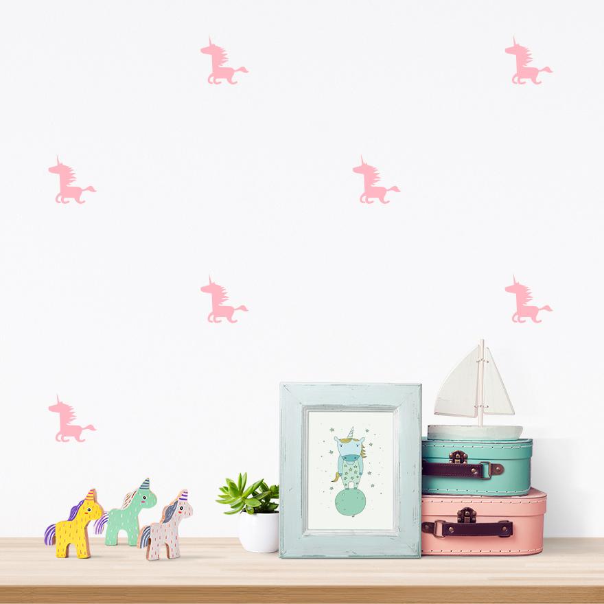 JUSTA Sticker Unicorn pink - pattern wall decal